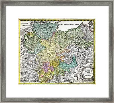 1730 Homann Map Of Lower Saxond Berlin Lubeck Hamburg Bremen Geographicus Saxoniaeinferioris Homann  Framed Print by MotionAge Designs