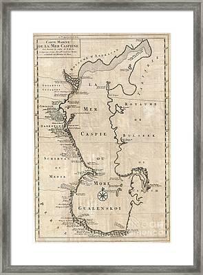 1730 Van Verden Map Of The Caspian Sea Framed Print by Paul Fearn