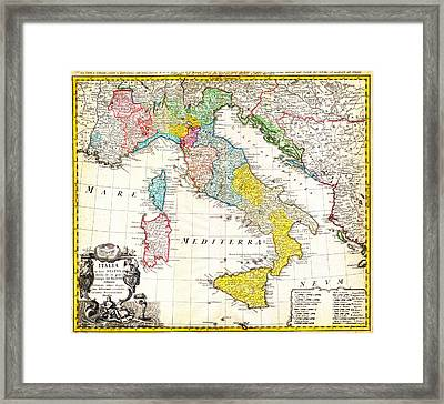 1742 Homann Heirs Map Of Italy Geographicus Italia Homannheirs 1742 Framed Print by MotionAge Designs