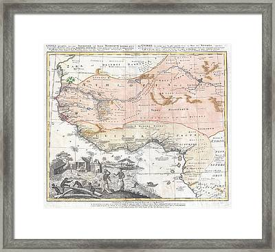 1743 Homann Heirs Map Of West Africa Or Guinea Framed Print by Paul Fearn