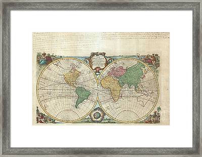 1744 Bowen Map Of The World In Hemispheres Framed Print by Paul Fearn