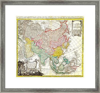 1744 Homann Heirs Map Of Asia Geographicus Asia Homannheirs 1744 Framed Print by MotionAge Designs