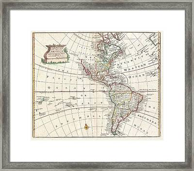 1747 Bowen Map Of North America And South America Framed Print by Paul Fearn