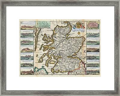 1747 La Feuille Map Of Scotland  Framed Print by Paul Fearn