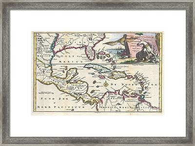 1747 Ruyter Map Of Florida Mexico And The West Indies Framed Print by Paul Fearn