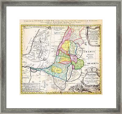 1750 Homann Heirs Map Of Israel Palestine Holy Land 12 Tribes Geographicus Palestina Homannheirs 175 Framed Print by MotionAge Designs