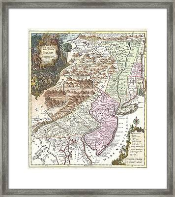 1756 Lotter Map Of Pennsylvania New Jersey And New York Framed Print by Paul Fearn
