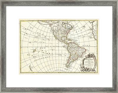 1762 Janvier Map Of North America And South America  Framed Print by Paul Fearn