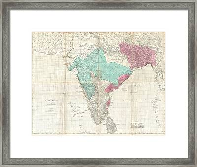 1768 Jeffreys Wall Map Of India And Ceylon Framed Print by Paul Fearn