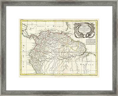 1771 Bonne Map Of Tierra Firma Or Northern South America Framed Print by Paul Fearn