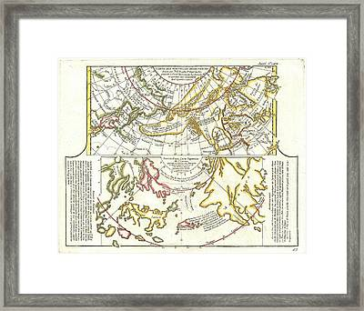 1772 Vaugondy Diderot Map Of Alaska The Pacific Northwest And The Northwest Passage Framed Print by Paul Fearn