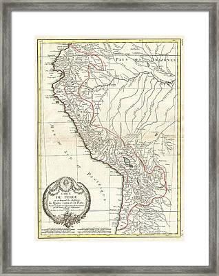 1775 Bonne Map Of Peru Ecuador Bolivia And The Western Amazon Framed Print by Paul Fearn