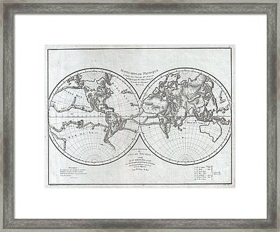 1779 Pallas And Mentelle Map Of The Physical World  Framed Print by Paul Fearn
