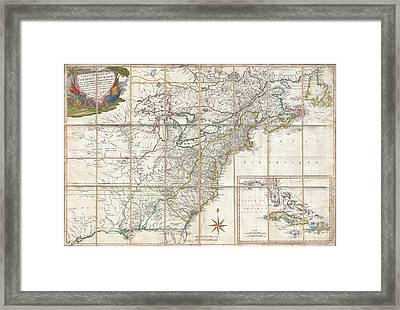 1779 Phelippeaux Case Map Of The United States During The Revolutionary War Framed Print by Paul Fearn
