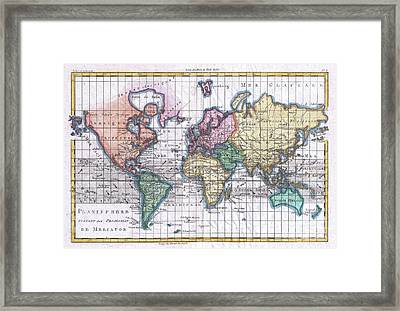 1780 Raynal And Bonne Map Of The World Framed Print by Paul Fearn