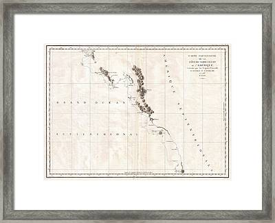 1786 La Perouse Map Of Vancouver And British Columbia Canada Framed Print by Paul Fearn