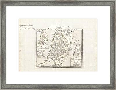 1794 Anville Map Of Israel Palestine Or The Holy Land In Ancient Times Framed Print by Paul Fearn