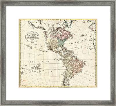 1796 Mannert Map Of North America And South America Framed Print by Paul Fearn