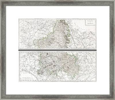 1797 Tardieu Map Of Champagne France Framed Print by Paul Fearn