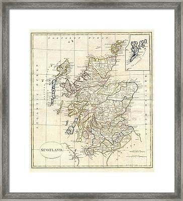 1799 Clement Cruttwell Map Of Scotland Framed Print by Paul Fearn