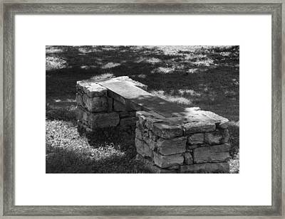 1800's Stone And Wood Bench Framed Print by Robert Hebert