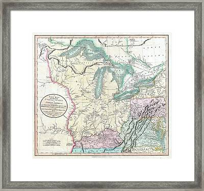 1805 Cary Map Of The Great Lakes And Western Territory Kentucy Virginia Ohio Framed Print by Paul Fearn