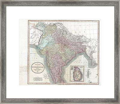 1806 Cary Map Of India Or Hindoostan Framed Print by Paul Fearn