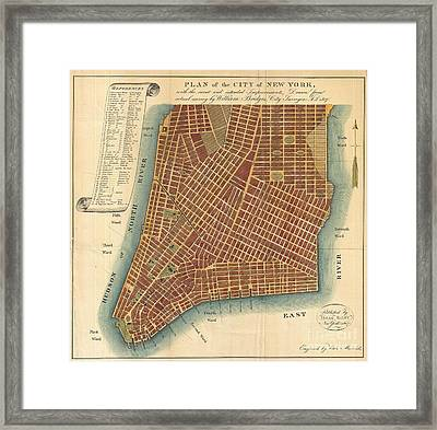 1807 Bridges Map Of New York City Framed Print by Paul Fearn