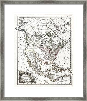 1809 Tardieu Map Of North America  Framed Print by Paul Fearn