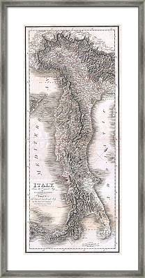 1814 Rizzi Zannoni Map Of Italy Framed Print by Paul Fearn