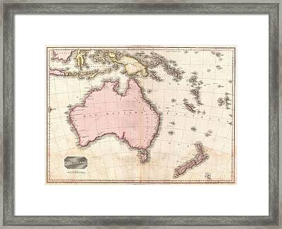 1818 Pinkerton Map Of Australia And New Zealand Framed Print by Paul Fearn