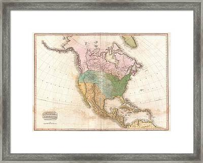 1818 Pinkerton Map Of North America Framed Print by Paul Fearn