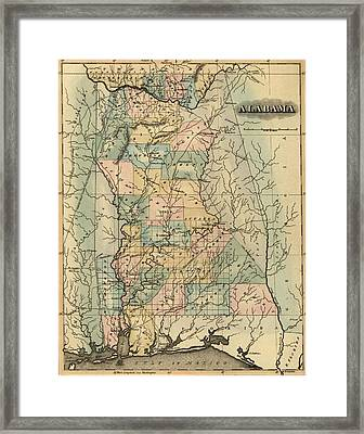 1826 Alabama Map Framed Print by Dan Sproul