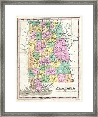 1827 Finley Map Of Alabama Framed Print by Paul Fearn
