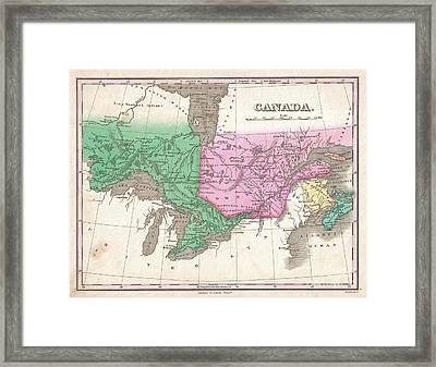 1827 Finley Map Of Canada  Framed Print by Paul Fearn