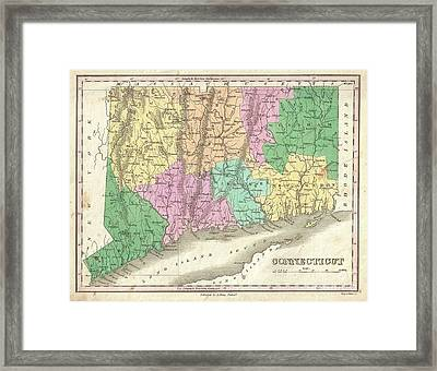 1827 Finley Map Of Connecticut Framed Print by Paul Fearn