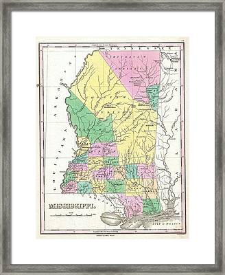 1827 Finley Map Of Mississippi Framed Print by Paul Fearn