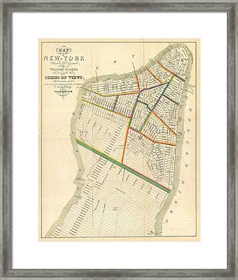 1831 Hooker Map Of New York City Framed Print by Paul Fearn