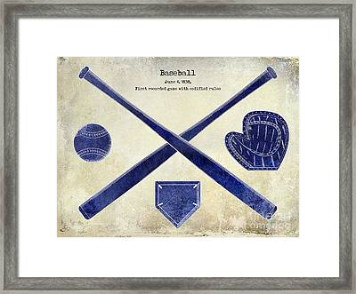 1838 Baseball Drawing 2 Tone Framed Print by Jon Neidert