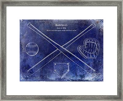 1838 Baseball Drawing Blue Framed Print by Jon Neidert