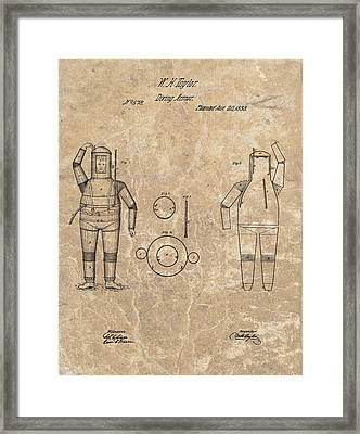 1838 Diving Armor Patent Framed Print by Dan Sproul