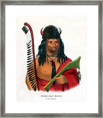 1838 Kish Ke Kosh Fox Indian Brave Framed Print by Historic Image