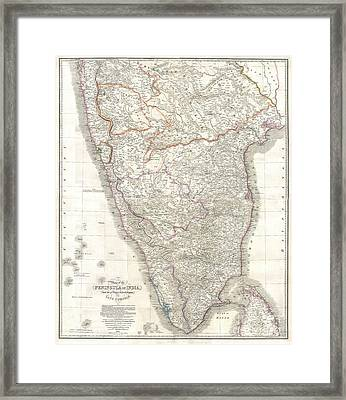 1838 Wyld Wall Map Of India Framed Print by Paul Fearn