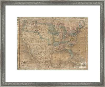 1839 Burr Wall Map Of The United States  Framed Print by Paul Fearn