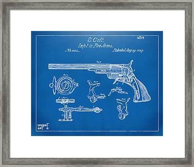 1839 Colt Fire Arm Patent Artwork Blueprint Framed Print by Nikki Marie Smith