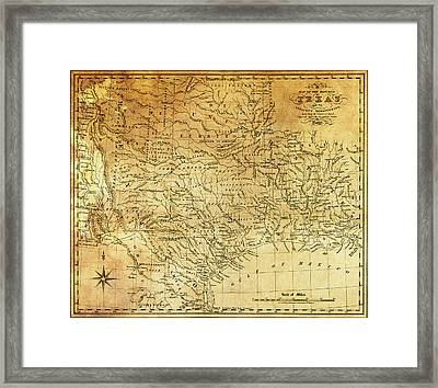 1841 Republic Of Texas Map Framed Print by Daniel Hagerman