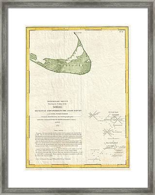 1846 Us Coast Survey Map Of Nantucket  Framed Print by Paul Fearn