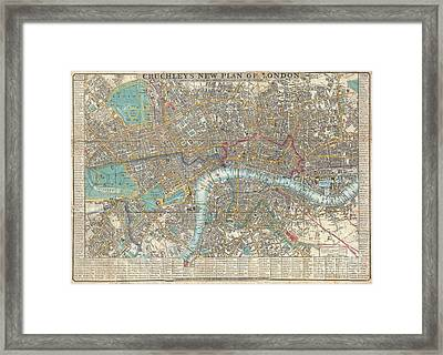 1848 Crutchley Pocket Map Or Plan Of London Framed Print by Paul Fearn