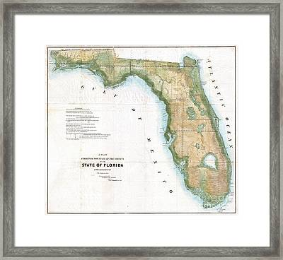 1848 Land Survey Map Of Florida Framed Print by Paul Fearn