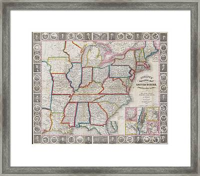 1848 Phelps National Map Of The United States Framed Print by Paul Fearn